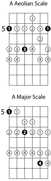 Sau D ở ngăn 10, dịch tiếp lên ngăn 12 sẽ là nốt E. Và đây là thế bấm của E Aeolian Mode (Thế bấm y chang âm giai thứ tự nhiên). Trong hình là A Aeolian Mode (Nó chính là âm giai thứ tự nhiên). vị trí số 5 nhưng các bạn dịch nó lên ngăn 12 nhé.